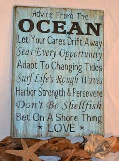 Unique Beach Decor,  Coastal Wood Sign, Ocean, Nautical Hand Painted Reclaimed Wood, Driftwood. $35.00, via Etsy.