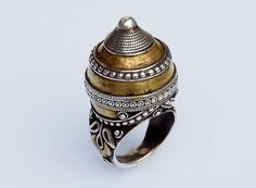einzigartige orient Turkmenische massiv silber ring teil vergoldet vintage NR.3 | eBay