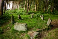 Doll Tor, occasionally known as the Six Stones, is a small stone circle near Birchover, west of Stanton Moor in the Derbyshire Peak District. Dating from the Bronze Age Josephine Wall, Statues, Ancient Mysteries, Stonehenge, Fantasy Landscape, Derbyshire, British Isles, Scenery, Photos