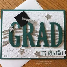 Letters Framelits make it simple to create! Swirly Scribbles Thinlits and Large Letters Framelits Graduation CardSwirly Scribbles Thinlits and Large Letters Framelits Graduation Card Cricut Cards, Stamping Up Cards, Congratulations Card, Copics, Creative Cards, Unique Cards, Kids Cards, Baby Cards, Cool Cards