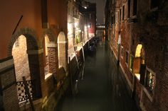 A canal in Venice, Italy at night. #venezia #night #canal #water