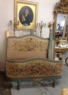 French Painted Tapestry Full Size Bed, Headboard, Footboard, Rails - $1,800