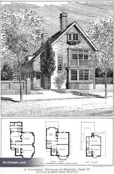 1904 Cottage Bedford Park Chiswick London Architect: Maurice B. Architecture Design, London Architecture, Residential Architecture, Vintage Architecture, Sims House Plans, Small House Plans, House Floor Plans, The Sims, Sims 4