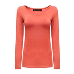 8f2e66f3b Women s Long Sleeves V-Neck T-Shirt Plain Basic Spandex