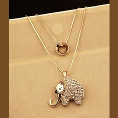 Elephant Rhinestone Double Chain Necklace | LilyFair Jewelry, $16.99!