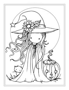 Tiny Witch and Cat - Coloring Page - Printable - Whimsical Fun Witch - Jack-o-lantern - Molly Harris Witch Coloring Pages, Cat Coloring Page, Coloring For Kids, Adult Coloring Pages, Coloring Books, Halloween Pumpkin Coloring Pages, Halloween Coloring Pictures, Halloween Coloring Sheets, Fairy Coloring