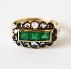 1920's emerald and moonstone ring