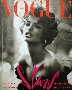"""The June 1990 cover of Vogue Italia... Meisel shot Linda Evangelista evoking Sophia Loren..."""