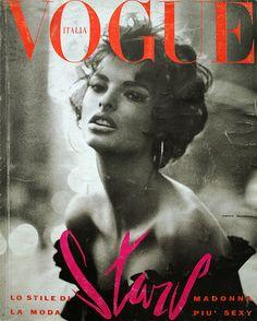 """The June 1990 cover of Vogue Italia... Meisel shot Linda Evangelista evoking Sophia Loren..."""