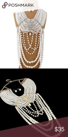 Bridal accessoriePearl and crystals body chain SOLD OUT BRIDAL Accessorie  Pearl and crystals body chain/ long wide necklace comes with pearl earrings , silver setting Jewelry Necklaces