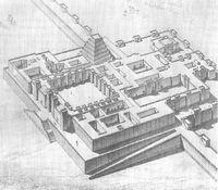 Recreación de la ciudadela con el palacio de Sargón II en Dur Sharrukin.