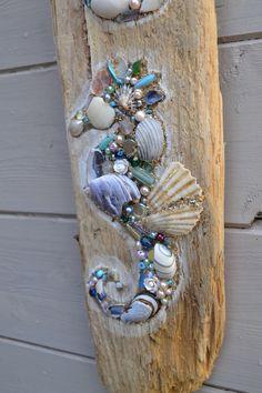 Driftwood Seahorse Wall Hanging using shells and pearls, Handmade in Cornwall