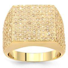14K Yellow Gold Mens Diamond Pinky Ring 2.31 Ctw: Avianne & Co: Jewelry