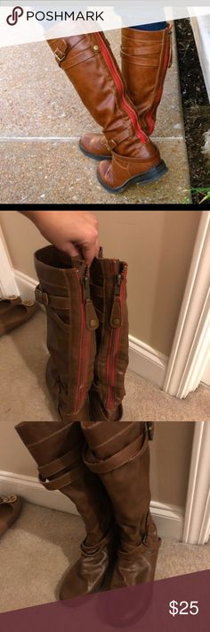 Steve Madden - Red zipper riding boots - Size 9 Red zipper brown faux leather riding boots - great condition; only worn a few times! Madden Girl Shoes Combat & Moto Boots