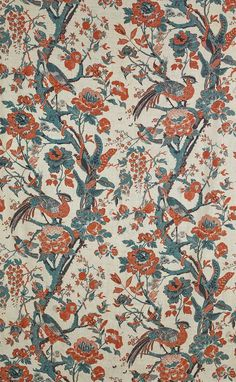 The best of Paris Deco Off Silk Fabric Bird, Dedar