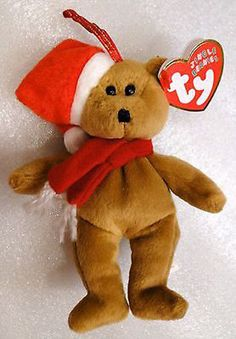 TY Beanie Babies 1997 Holiday Teddy Bear Red Santa Hat MWMTs! Retired  Ty a80dc5fd6831