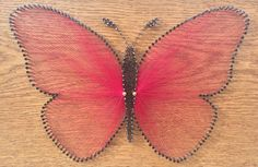 Butterfly String Art Nail Art Shabby Chic Home by LuChicDesign