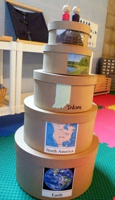 Love this idea of nesting boxes w/ maps from the world to the town.
