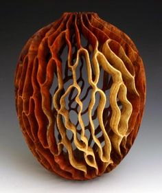 "J. Paul Fennell Woodturning Art. Transitions Carob wood Turned & Carved Oil Finish 11""h x 9""dia."