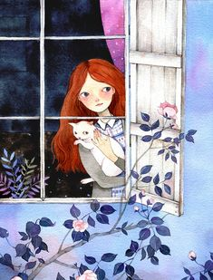 girl with cat looking outside