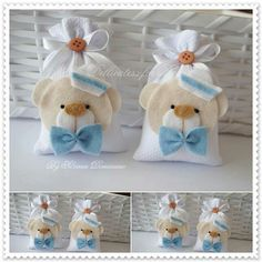 Adorable gifts in cloth bags Shower Bebe, Baby Boy Shower, Baby Shower Gifts, Baby Crafts, Felt Crafts, Diy And Crafts, Teddy Bear Party, Sewing Projects, Projects To Try