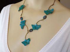 Ginkgo blad ketting in Teal Turquoise met door RenesJewelryArt