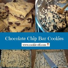 Chocolate Chip Bar Cookies from The Cookie Elf: soft, moist bars that taste like traditional chocolate chip cookies. Traditional Chocolate Chip Cookie Recipe, Milk Chocolate Chip Cookies, Chocolate Cookie Recipes, Chocolate Chip Oatmeal, Oatmeal Cookies, Drop Cookie Recipes, Cake Mix Cookie Recipes, Cake Mix Cookies, Kiss Cookies