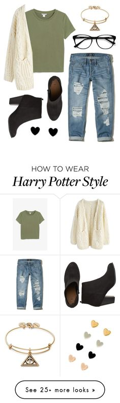 """""""My Campus Look: Day 7"""" by psycake on Polyvore featuring Hollister Co., Monki, Chicwish, EyeBuyDirect.com and Alex and Ani"""