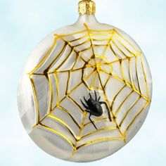 Home+Spun+-+Halloween,+Radko+Christmas+Ornaments,+1997,+96-011-0,+Spider+web+on+pearl+medallion,+Christopher,+Mint+with+Tag