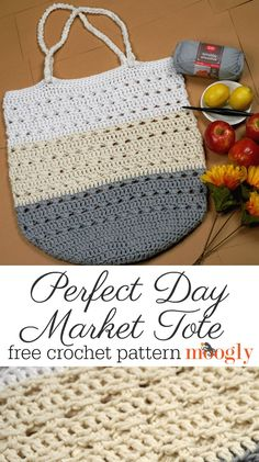 Perfect Day Market Tote – Free Crochet Pattern on Moogly! The Perfect Day Market Tote was inspired by the perfect summer day browsing the farmer's market – and it's a free crochet pattern here on Moogly! Make it with Red Heart Scrubby Smoothie! Free Crochet Bag, Crochet Purse Patterns, Crochet Market Bag, Crochet Shell Stitch, Crochet Gifts, Crochet Bags, Bag Patterns, Sewing Patterns, Crochet Baskets
