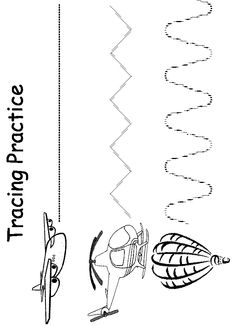 Use this Air Transportation Tracer Worksheet to help your pre-schooler with their fine motor skills. They can color the airplane, hot air balloon, and helicopter and then trace the straight, zigzag, and curvy lines. Transportation Preschool Activities, Transportation Worksheet, Airplane Activities, Transportation Theme, Motor Activities, Pre K Worksheets, Preschool Learning, Kindergarten Worksheets, Kindergarten Activities
