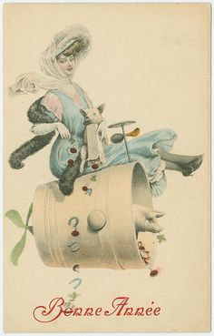 When Pigs Fly! ~ Vintage New Year Postcard
