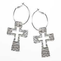 """Amazon.com: Designer Inspired Bold Hammered Cut-out Cross Hoop Earring •Features: * 3"""" Earrings * Antique Silver Hoop * Antique Silver Hamme..."""