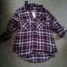 Plaid shirt SZ:L cute different shades of purple plaid shirt that is long in the back, and shorter in the front. Thin material Pink Rose Tops Tees - Long Sleeve