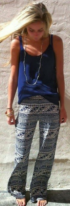 Adorable Aztec Pants and Blue Blouse. Amazing Style