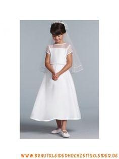 Liebes Blumenkindkleid aus Satin und Tüll A-Linie