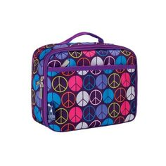 Wildkin Peace Signs Lunch Box Purple ($19) ❤ liked on Polyvore featuring home, kitchen & dining, food storage containers, freezer lunch bag, wildkin lunch bag, peace sign lunch box, lunch cooler and purple peace sign
