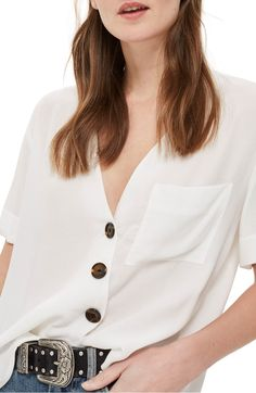 Asymmetrical Button Top,                         Main,                         color, Ivory