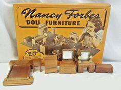 Nancy Forbes Doll Furniture No. 172 Bedroom Set w Box 8 pcs Walnut Finish 1940s #AmericanToyandFurnitureCompany