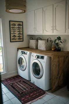 wooden laundry room counter idea; not the upper cabinets; love the end panel.