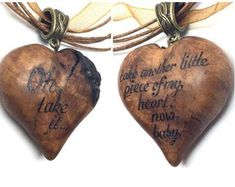 Janis Joplin carved heart pendant with pyrography / wood burning - wood burned pendant with song text, wood carved necklace, wood jewelry