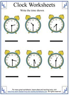 Use these introductory time worksheets to teach your child how to tell the hour. Learn half-hours, five-minute marks, and elapsed time too. Clock Worksheets, 1st Grade Math Worksheets, Handwriting Worksheets, Teacher Worksheets, Reading Worksheets, First Grade Math, Preschool Worksheets, Grade 1, Learning Time Clock