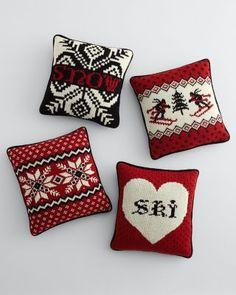 Throw pillows for a ski cabin