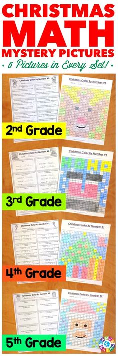 """""""My students LOVE these because they are fun to solve and color! I love them because it is a great review of the skills!"""" These Christmas Math Color by Number Activities are the perfect way to review key math skills taught so far this year. Each set comes with 6 different pictures, and each picture focuses on a different skill. Different versions available for 2nd, 3rd, 4th, and 5th grades."""