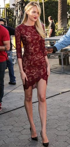 Candice Swanepoel in a crimson lace Lover dress