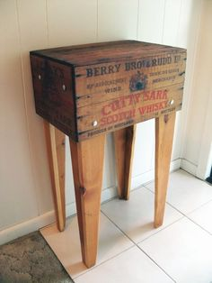 A man cave item I would allow into my home - an old Scotch crate upcycled it into a handsome rustic side table