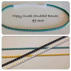 NEW Studded Suede Hippy bands aqua gold fringe by MadiMosBows