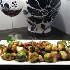 Roasted Apples and Brussels Sprouts, I made these a few nights ago and we loved it, I added Apple cider vinegar to it though
