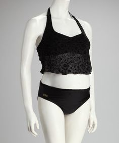 Take a look at this Black Lace Halter Maternity Bikini by Ilant Maternity Swimwear on #zulily today!