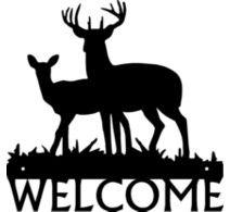 Welcome Sign -Deer Buck & Doe - Metal Art Silhouettes